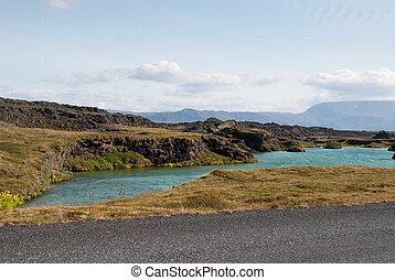 Myvatn Lake - wild landscape of Myvatn Lake in Iceland