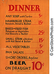 Vintage Diner Dinner Menu - Early 1900s dinner menu listing...