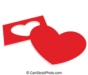 Paper heart - Red paper heart on a white background....