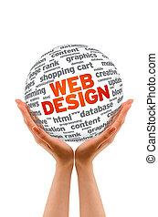 Hände, Besitz, web, design, kugelförmig