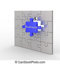 Business puzzle. White isolated 3d render