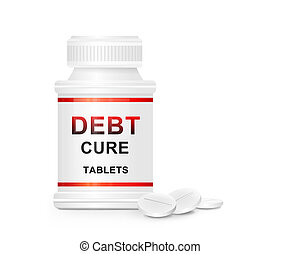 Debt cure concept - Illustration depicting a single white...