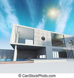 Office building. High quality 3d render, sky and sun