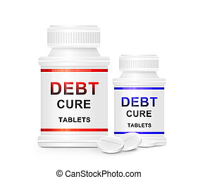 Debt cure concept - Illustration depicting two medication...