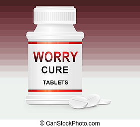 Worry cure concept - Illustration depicting a single white...