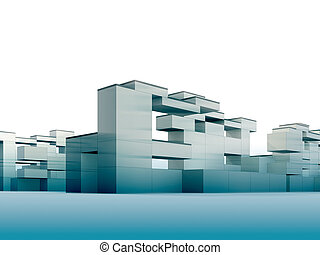 Constructivism in blue - 3d render minimalism and...