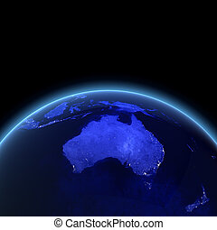 Australia and New Zealand Maps from NASA imagery