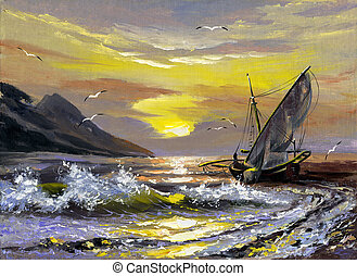 Sailing boat on a decline - Sailing boat in waves on a...