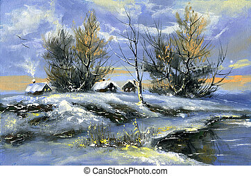 Winter landscape - The rural house on the bank of lake in...