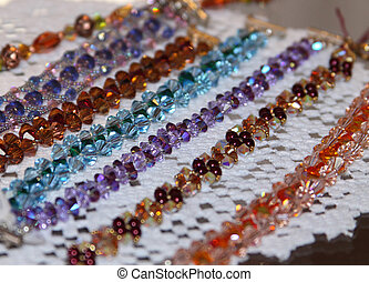 Strings of Colored Glass Beads