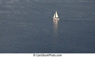 Sailing yacht on blue ocean pattern