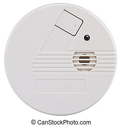 Smoke detector - Closeup of a smoke detector over a white...