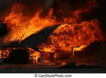 déchaînement, enfer, -, maison, brûler