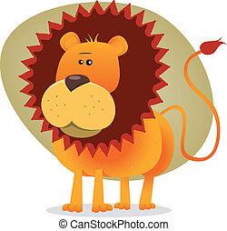 Cute Cartoon Lion King - Illustration of the king of the...