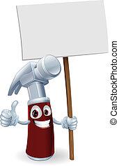 caricatura, martillo, tabla, señal
