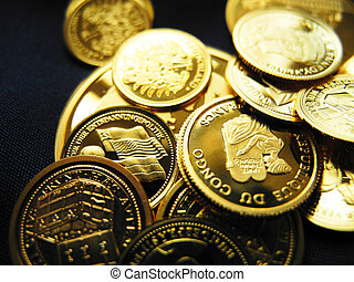 gold coins and medals - coins of pure gold - metaphorical...