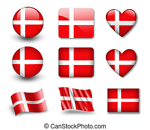 The Danish flag - set of icons and flags. glossy and matte...