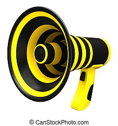 Megaphone in bright colors Isolated on white