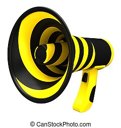 Megaphone in bright colors. Isolated on white.