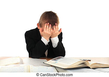 sad schoolboy - tired schoolboy on the table isolated on the...