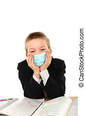 schoolboy in mask - schoolboy in flu mask isolated on the...