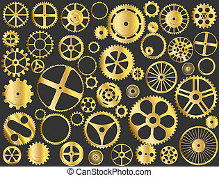Gold gears - Shiny gold gears, pinions and wheels vector