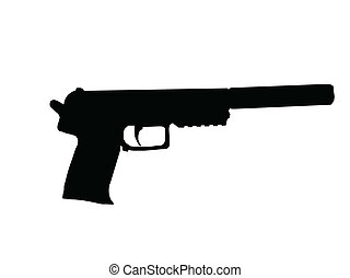 Silencer Pistol - Silhouette of Pistol with Silencer Fitted...