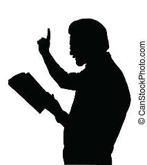 Preacher Teaching from Bible - Preacher Reading from Bible...