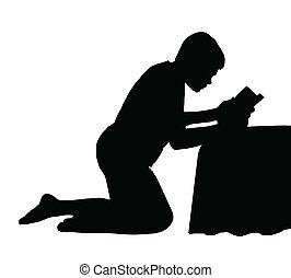 criança, leitura, bíblia, logo, cama