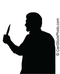 Silhouette of man Holding Knife - Silhouette of Man holding...