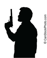 Hitman Silhouette - Silhouette of Hitman with Pistol with...