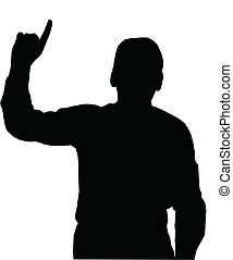 Man pointing upwards - Preacher or Man pointing with finfer...