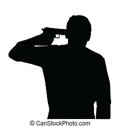 Man Suicide - Silhouette of man holding gun against own head