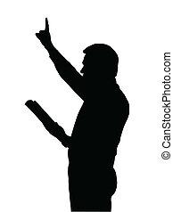 predicador, enseñanza, biblia, levantado, brazo