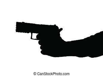 Hand holding Pistol - Silhouette of arm and Hand holding a...