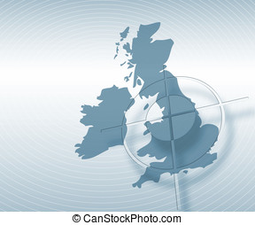 UK map - UK and Ireland outline map overlaid with circle...
