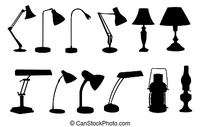 lamps - set of desk lamps isolated