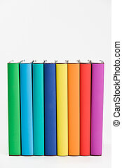 Colorful books and white background