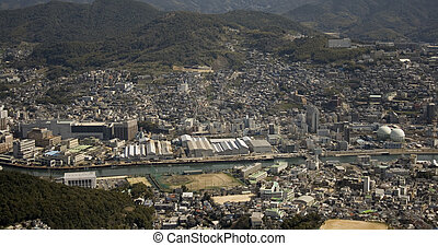 Nagasaki Japan - An aerial view of the city of Nagasaki...