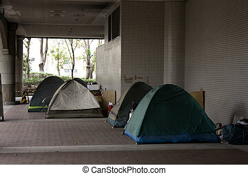 Tents in a City - Tents in the city of Tokyo Japan