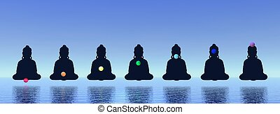 Chakras in meditation - Seven chakras in meditation in blue...