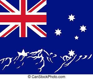 Mountains with flag of Australia