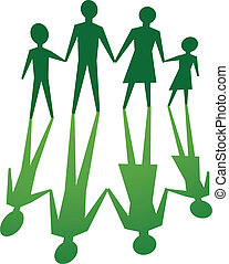 family with environmental value - silhouette of family, in...