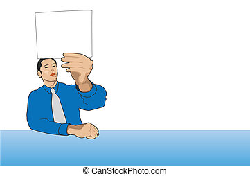businessman holding a card, vector illustrations