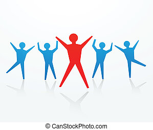 cheering success business concepts - paper man cutouts in...