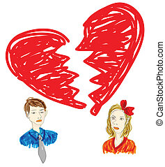 broken relationship drawing in graffiti style - drawing in...