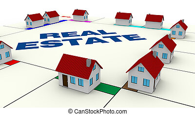 concept of real estate - one board of a famous game with...