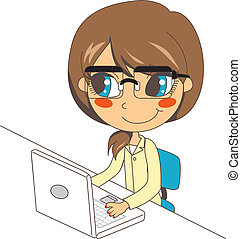 Secretary Working on Laptop - Young secretary woman with...