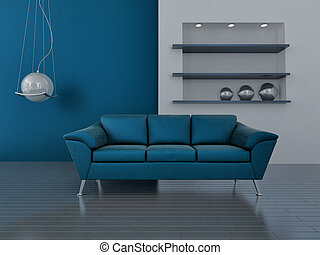 interior in blue tones with a sofa and lamp
