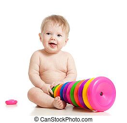 顏色, 微笑, 玩具, 玩, 孩子